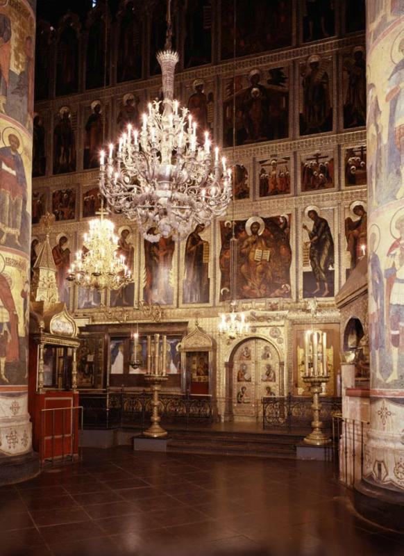 Candelabrums in front of the main iconostasis