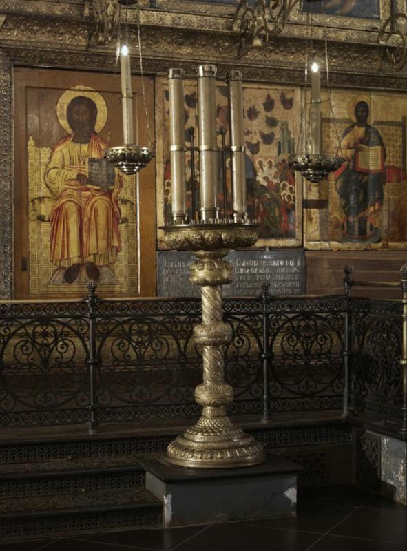 Candelabrum in front of the main iconostasis